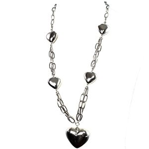 Jewelry - Chunky Multiple Heart Necklace Silver tone